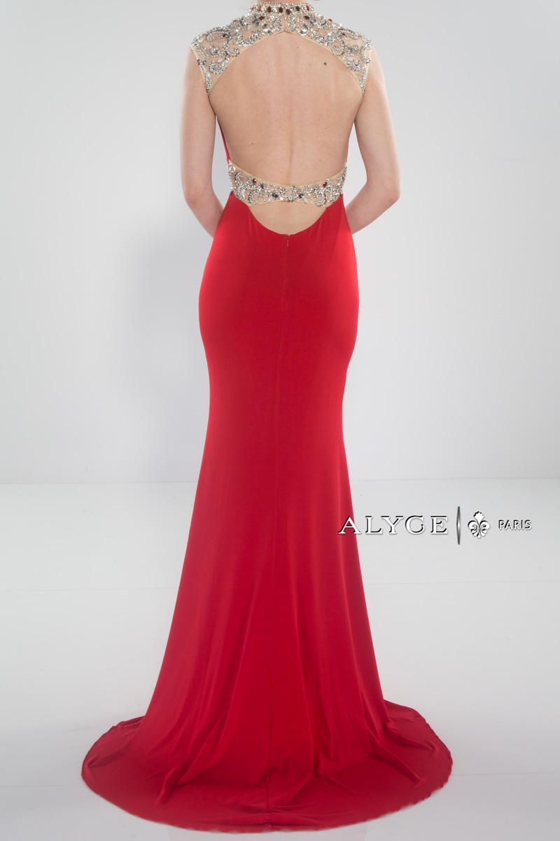 Style 6393 Alyce Paris Red Size 10 Pageant Sweetheart Backless Sheer Tall Height Straight Dress on Queenly
