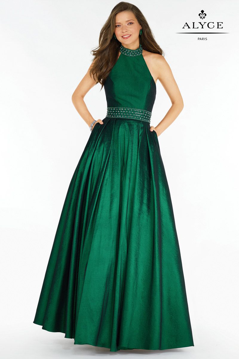 Style 6731 Alyce Paris Green Size 12 Halter Backless Tall Height A-line Dress on Queenly
