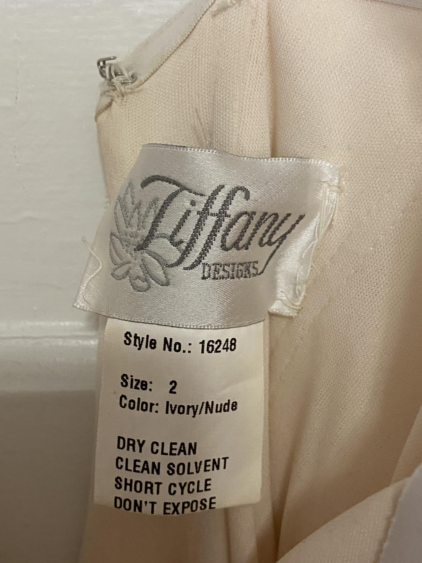 Tiffany Designs White Size 0 Wedding Pageant Tall Height Mermaid Dress on Queenly
