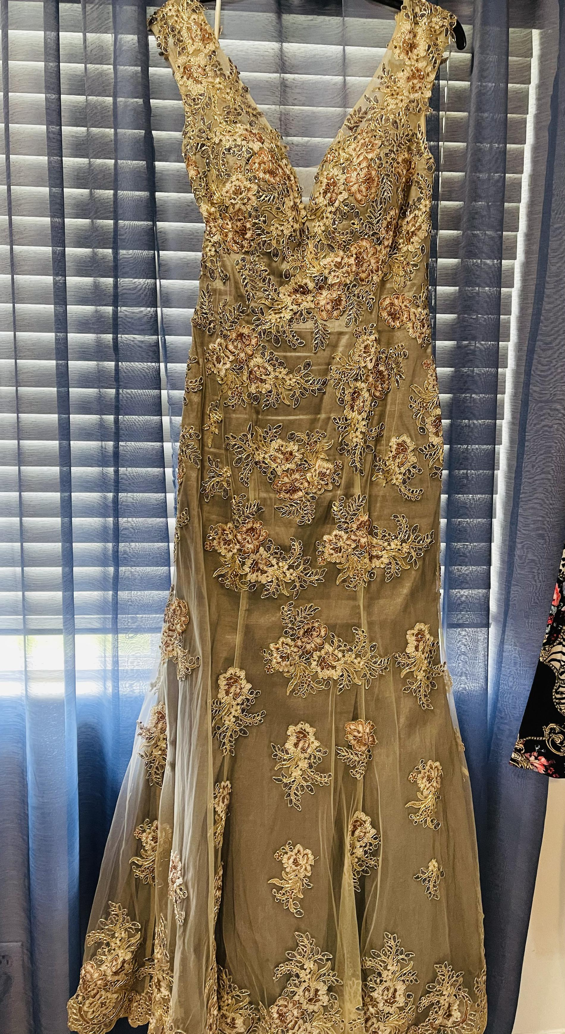 Phila Sofia Gold Size 14 Short Height Green Olive Mermaid Dress on Queenly