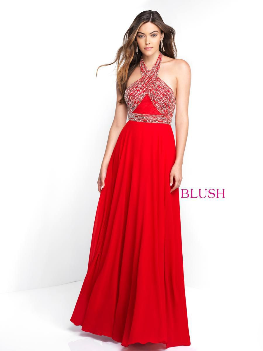 Style 11542 Blush Prom Red Size 4 Pageant Halter Tall Height A-line Dress on Queenly