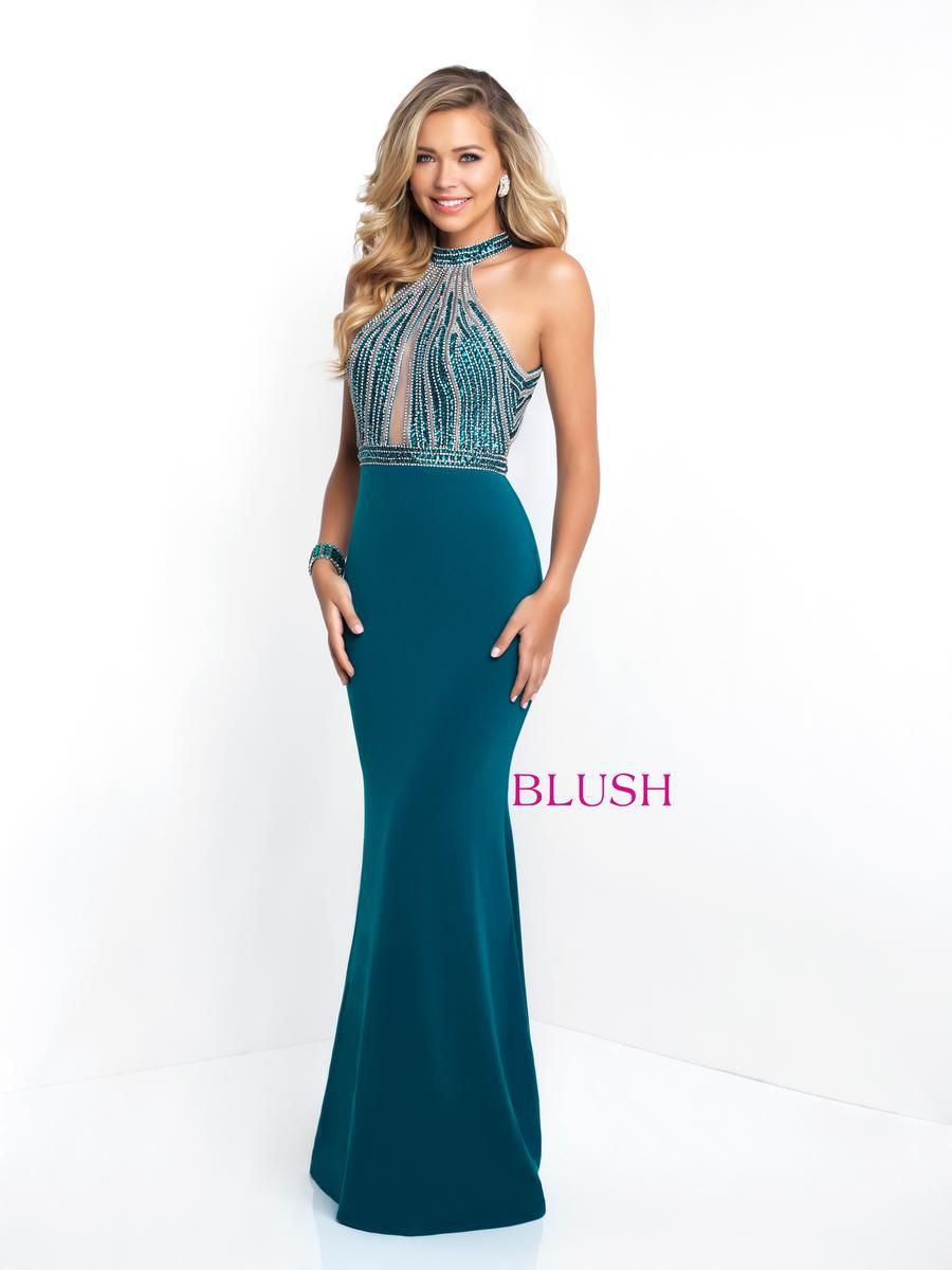 Style 11502 Blush Prom Green Size 6 Pageant Halter Tall Height Mermaid Dress on Queenly