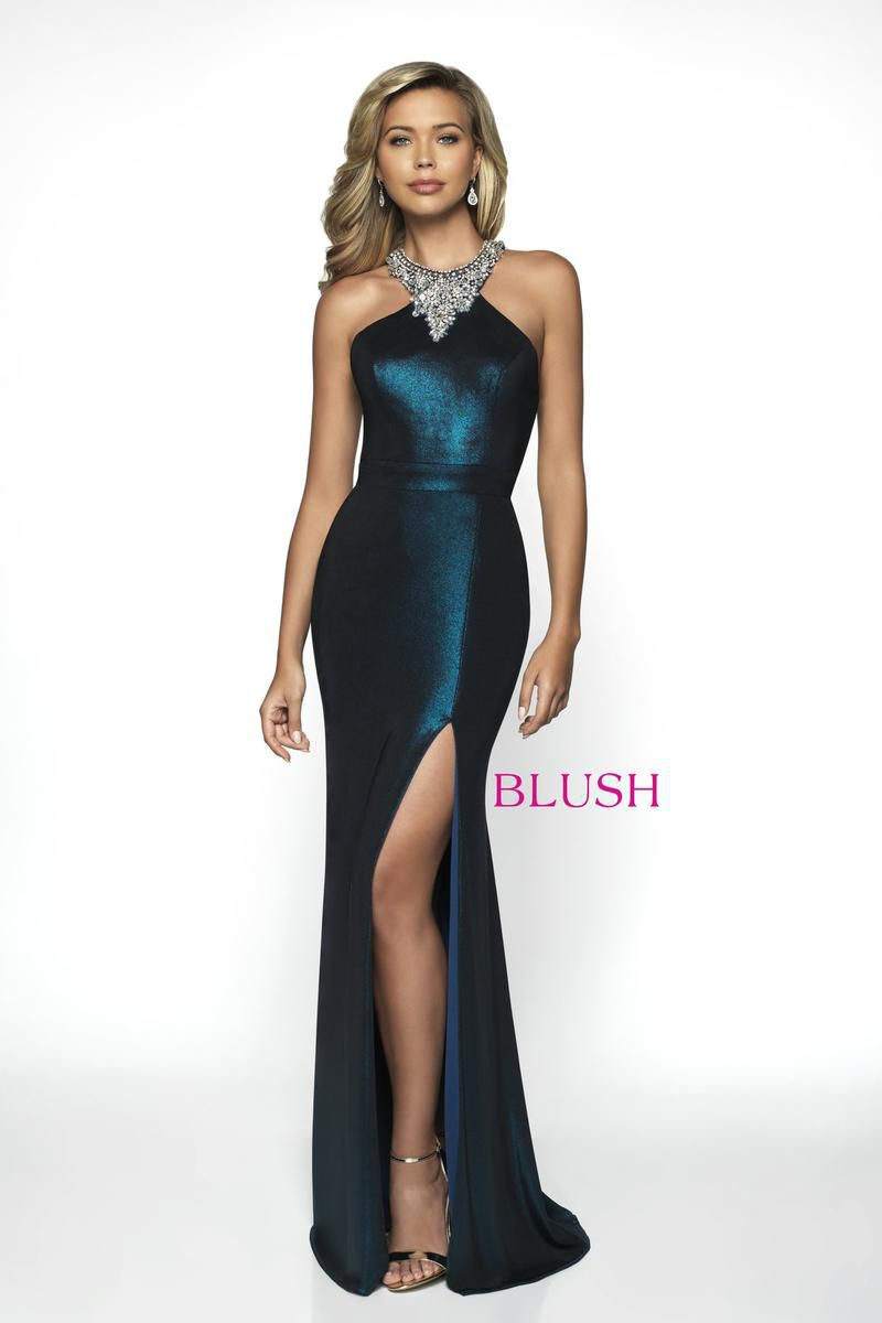 Style C2047 Blush Prom Green Size 6 Pageant Halter Tall Height Side slit Dress on Queenly