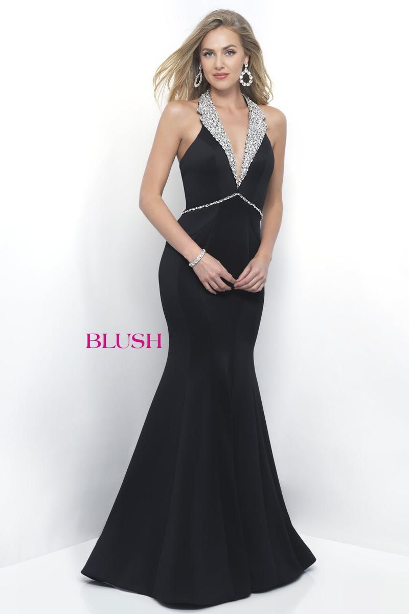 Style 11298 Blush Prom Black Size 12 Prom Halter Tall Height Mermaid Dress on Queenly