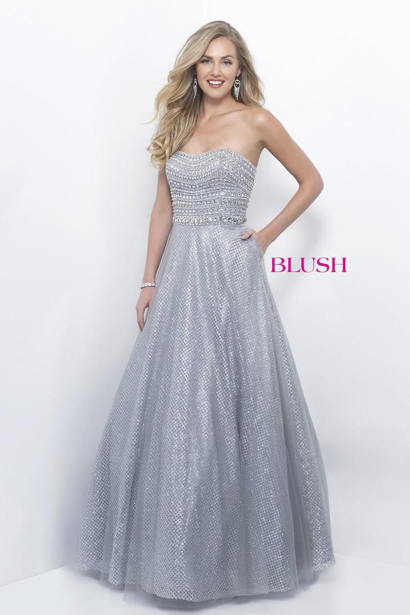 Style 5615 Blush Prom Silver Size 4 Pageant Quinceanera Tall Height Ball gown on Queenly