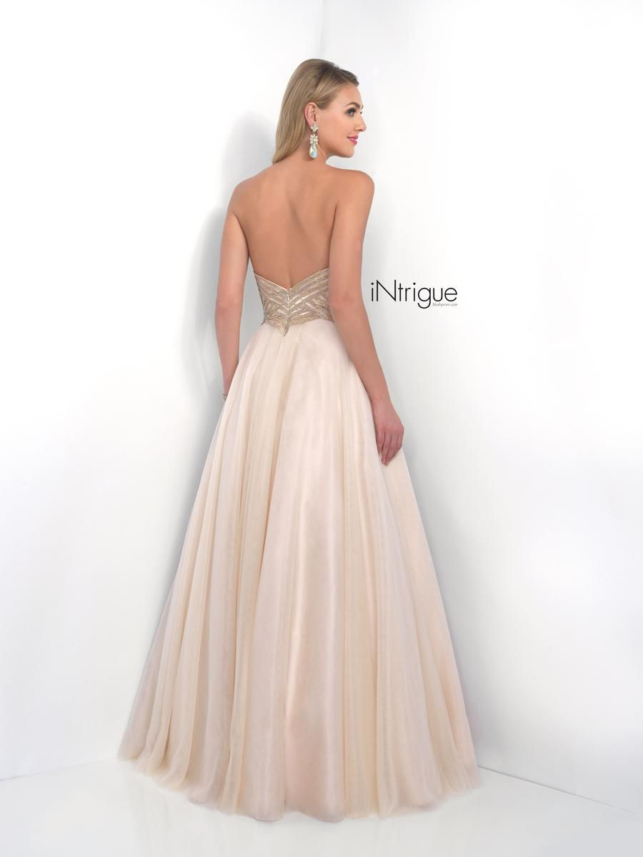 Style 186_Intrigue Blush Prom Gold Size 6 Pageant Party Tall Height Ball gown on Queenly