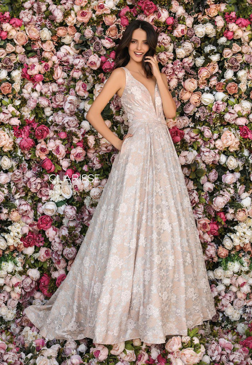 Style 8133 Clarisse Gold Size 16 Prom Floral Tall Height A-line Dress on Queenly