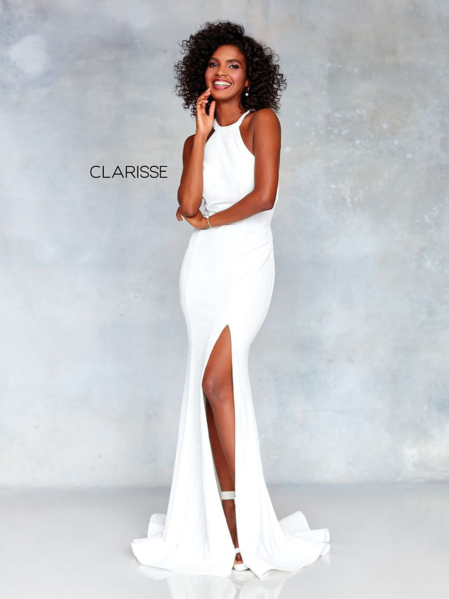 Style 3830 Clarisse White Size 00 Sorority Formal Jersey Side slit Dress on Queenly