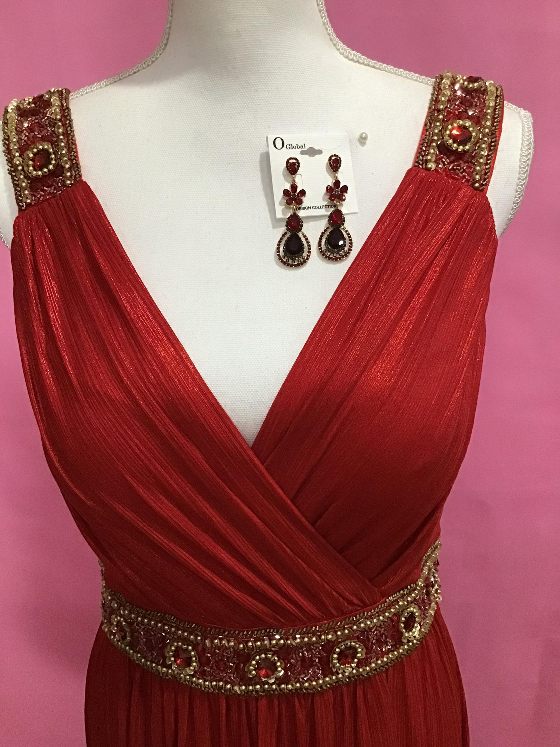 Lara Red Size 10 Sequin Jewelled A-line Dress on Queenly