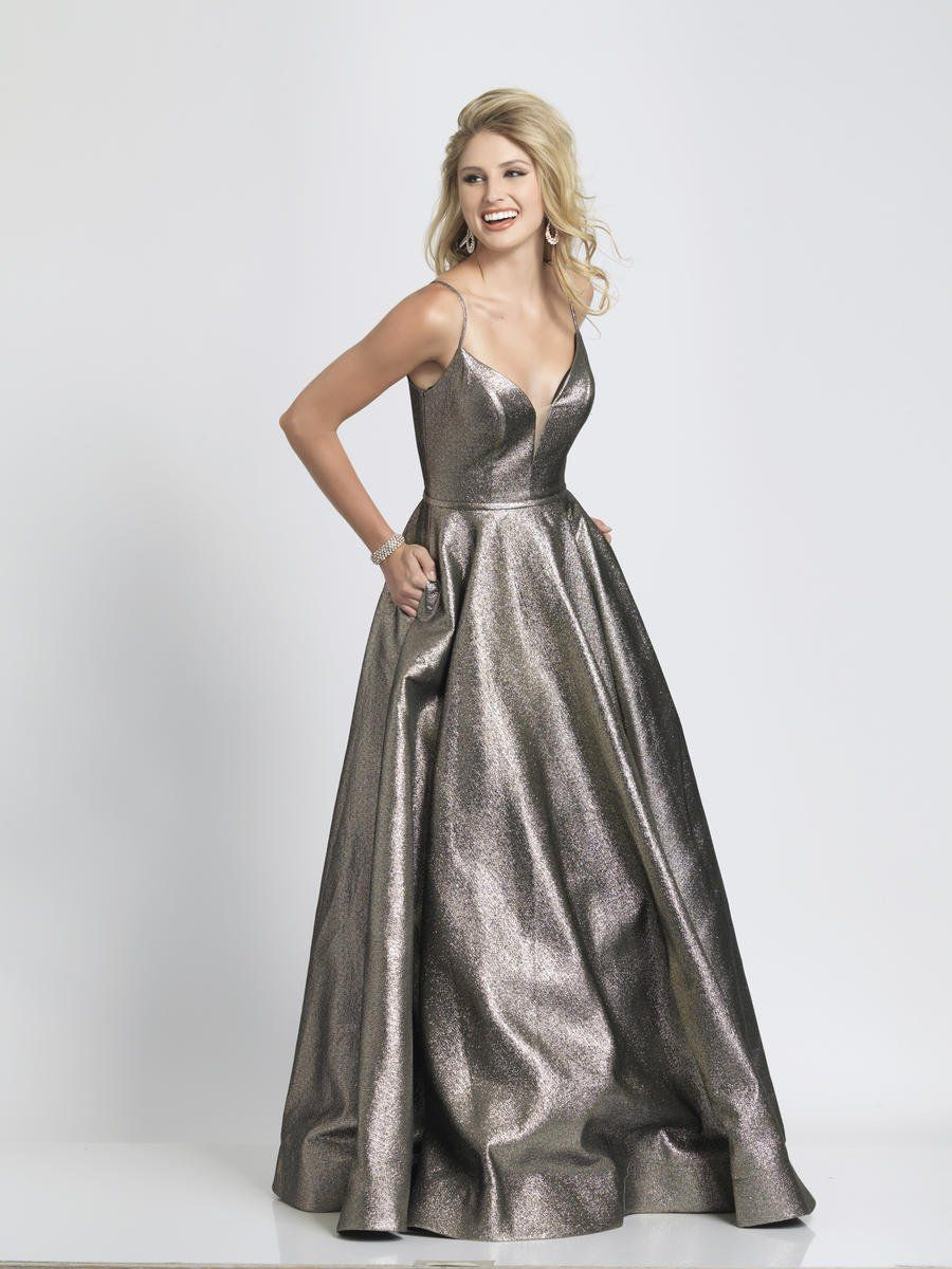 Style A8489 Dave & Johnny Gold Size 2 Pageant Tall Height A-line Dress on Queenly