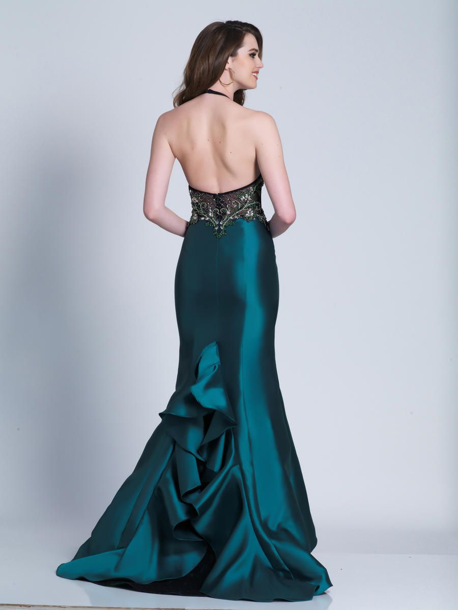 Style 3454 Dave & Johnny Green Size 14 Pageant Tall Height Mermaid Dress on Queenly