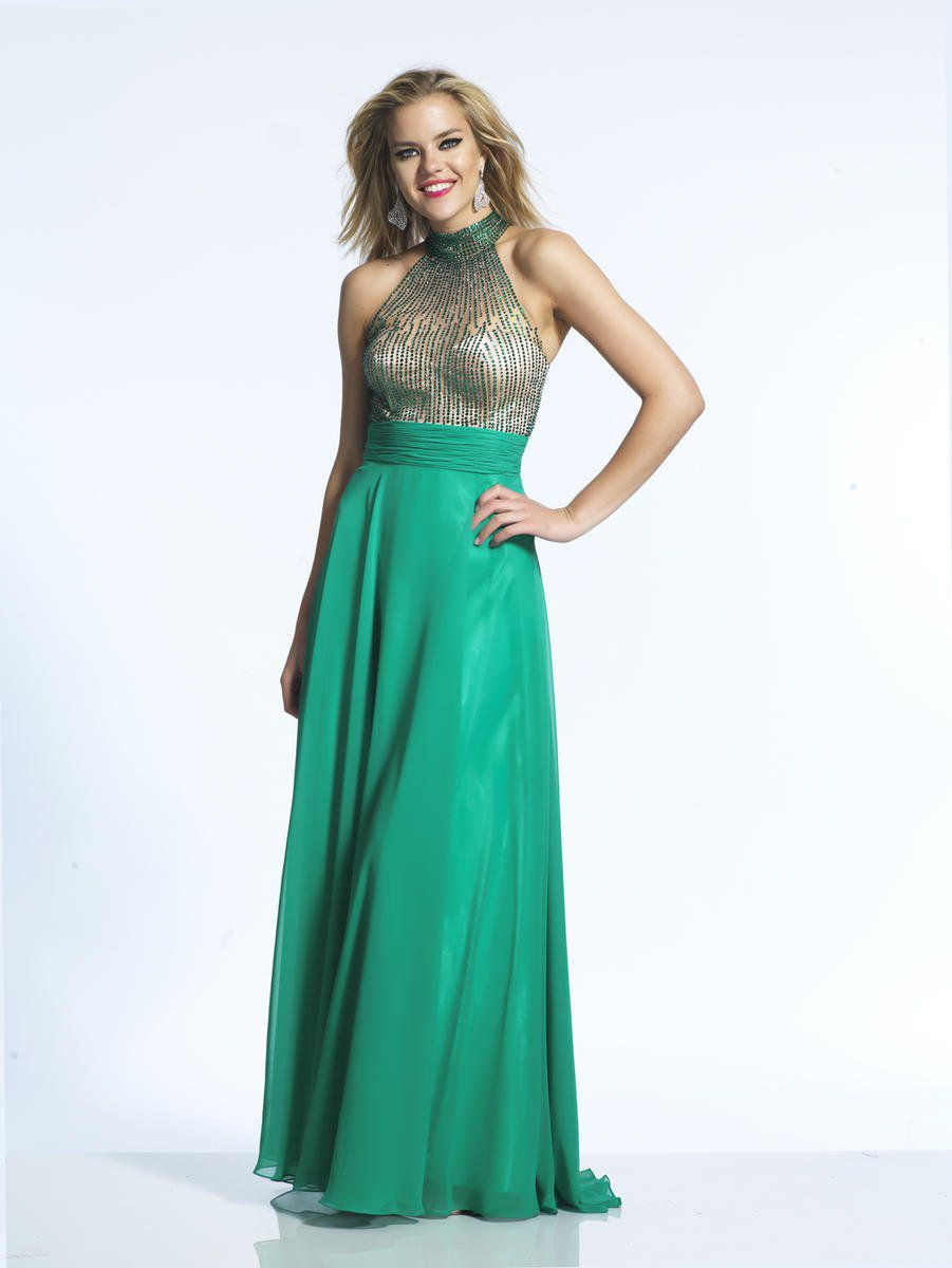Style 2081 Dave & Johnny Green Size 6 Tulle Halter Tall Height Straight Dress on Queenly