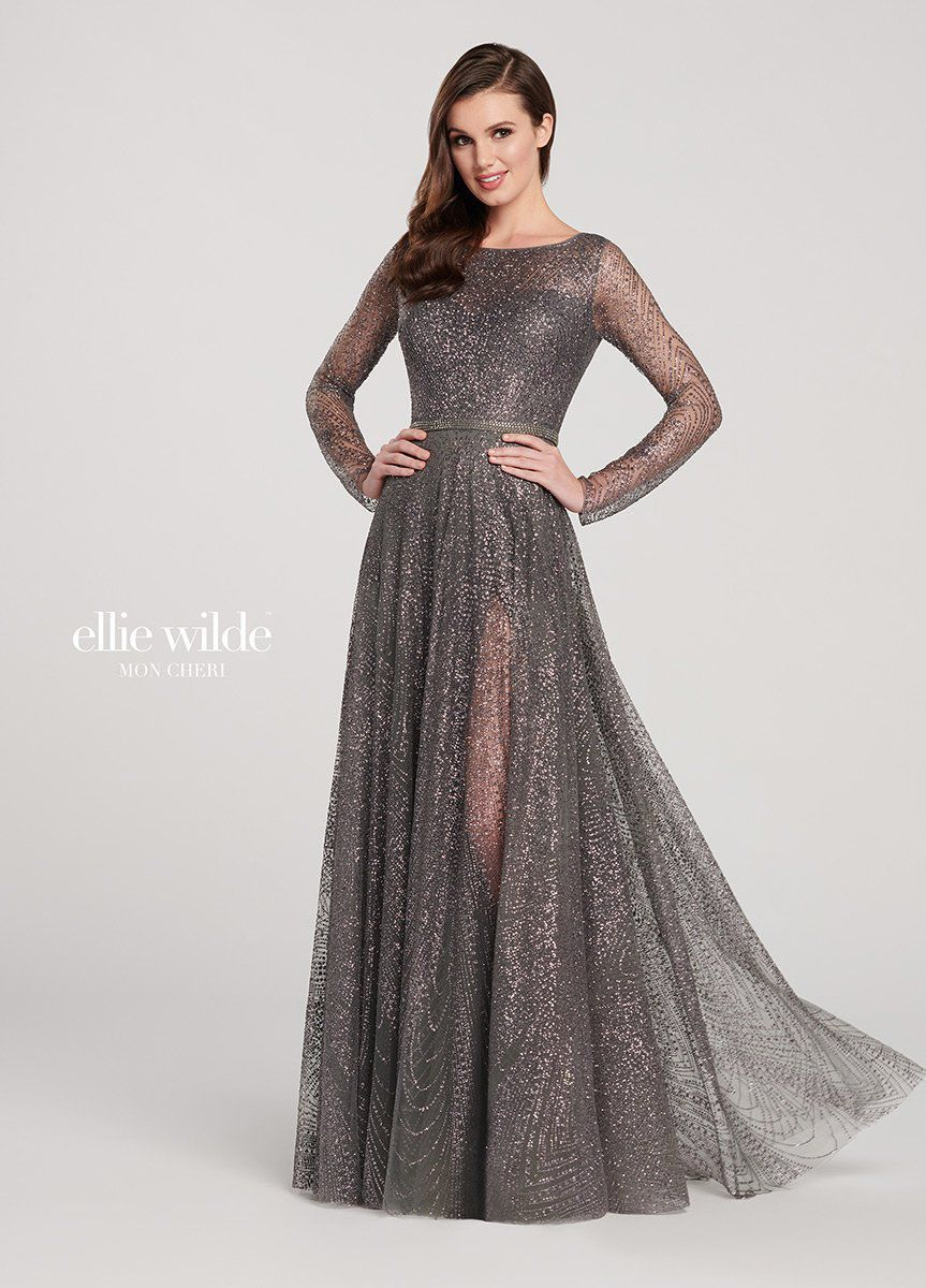 Style EW119003 Ellie Wilde Silver Size 10 Pageant Tall Height A-line Dress on Queenly