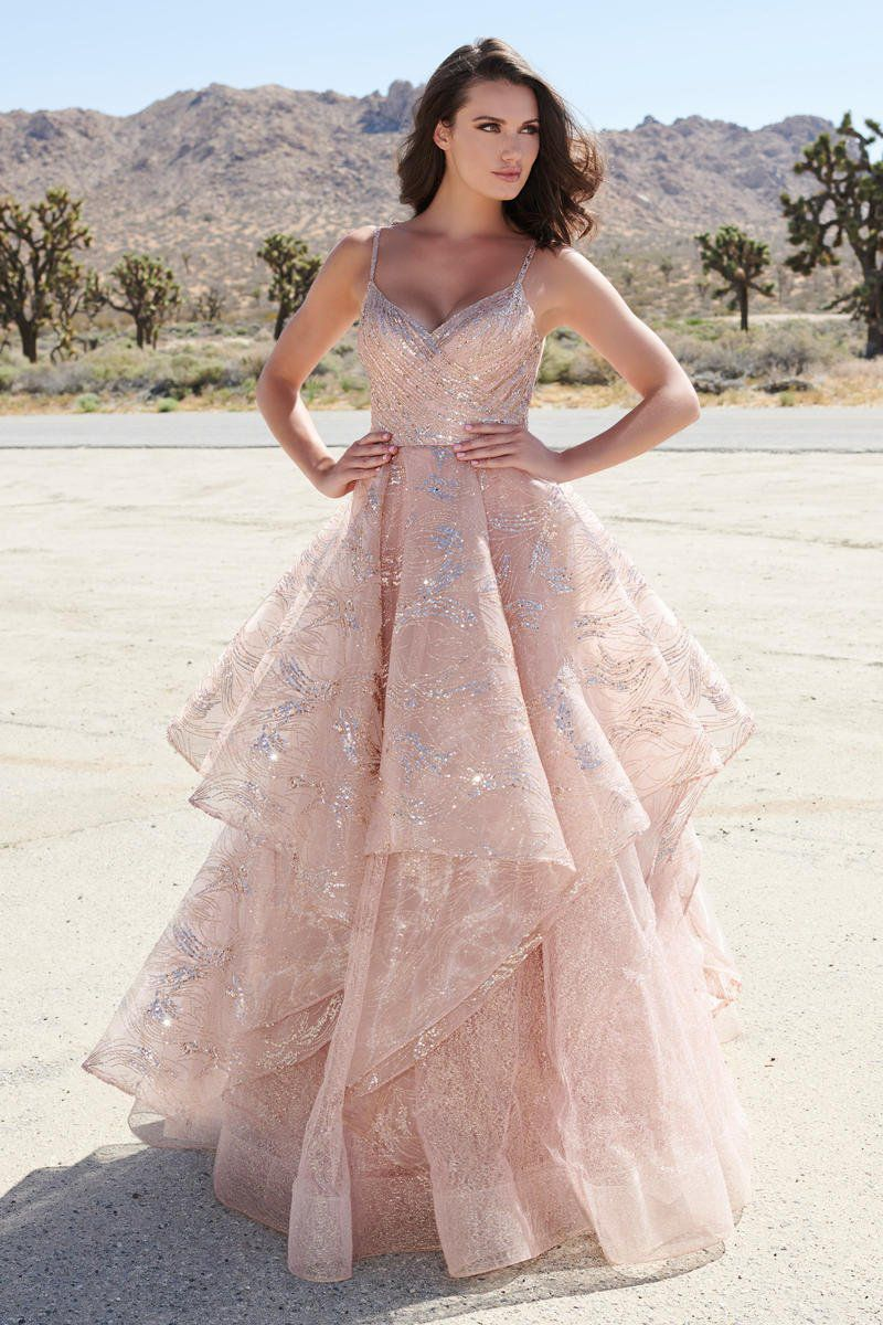 Style EW120005 Ellie Wilde Pink Size 10 Rose Gold Backless Tall Height V Neck A-line Dress on Queenly