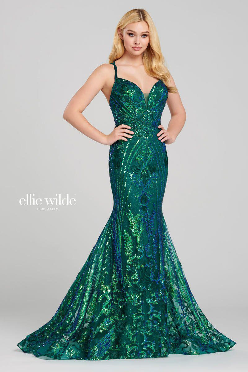 Style EW120028 Ellie Wilde Green Size 8 Train Tall Height Lace V Neck Mermaid Dress on Queenly