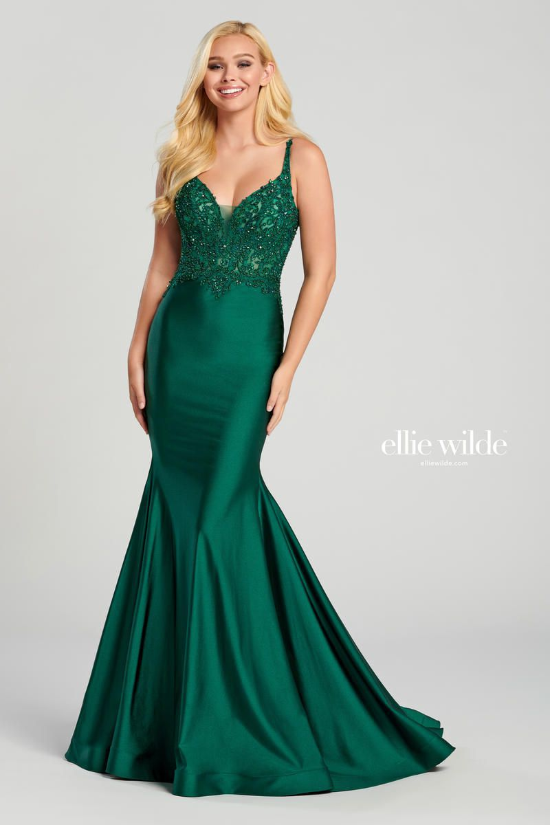 Style EW120007 Ellie Wilde Green Size 10 Train Sheer Lace V Neck Mermaid Dress on Queenly