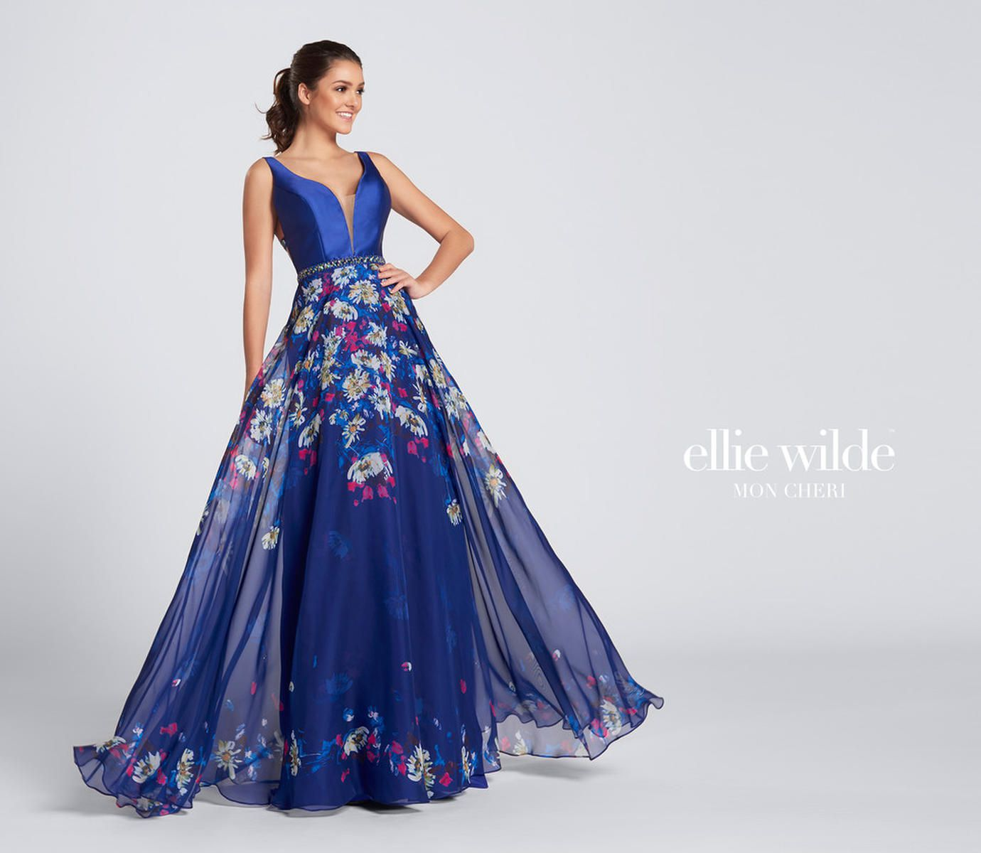 Style EW21705 Ellie Wilde Blue Size 10 Tall Height Wedding Guest A-line Dress on Queenly