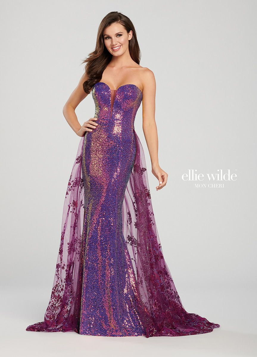 Style EW119039 Ellie Wilde Purple Size 0 Pageant Tall Height Lace Mermaid Dress on Queenly