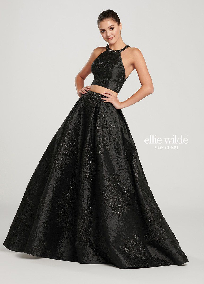Style EW119151 Ellie Wilde Black Size 00 Two Piece Prom Tall Height Ball gown on Queenly
