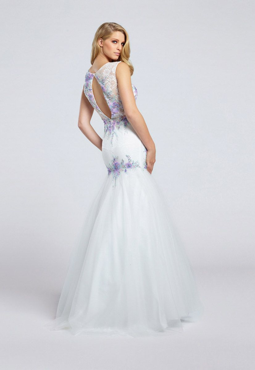 Style EW117018 Ellie Wilde White Size 14 Boat Neck Sweetheart Tall Height Lace Mermaid Dress on Queenly
