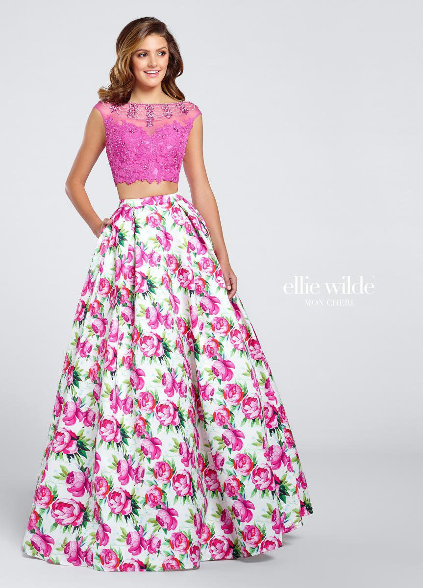 Style EW117035 Ellie Wilde Pink Size 10 Sleeves Boat Neck Tall Height Lace A-line Dress on Queenly