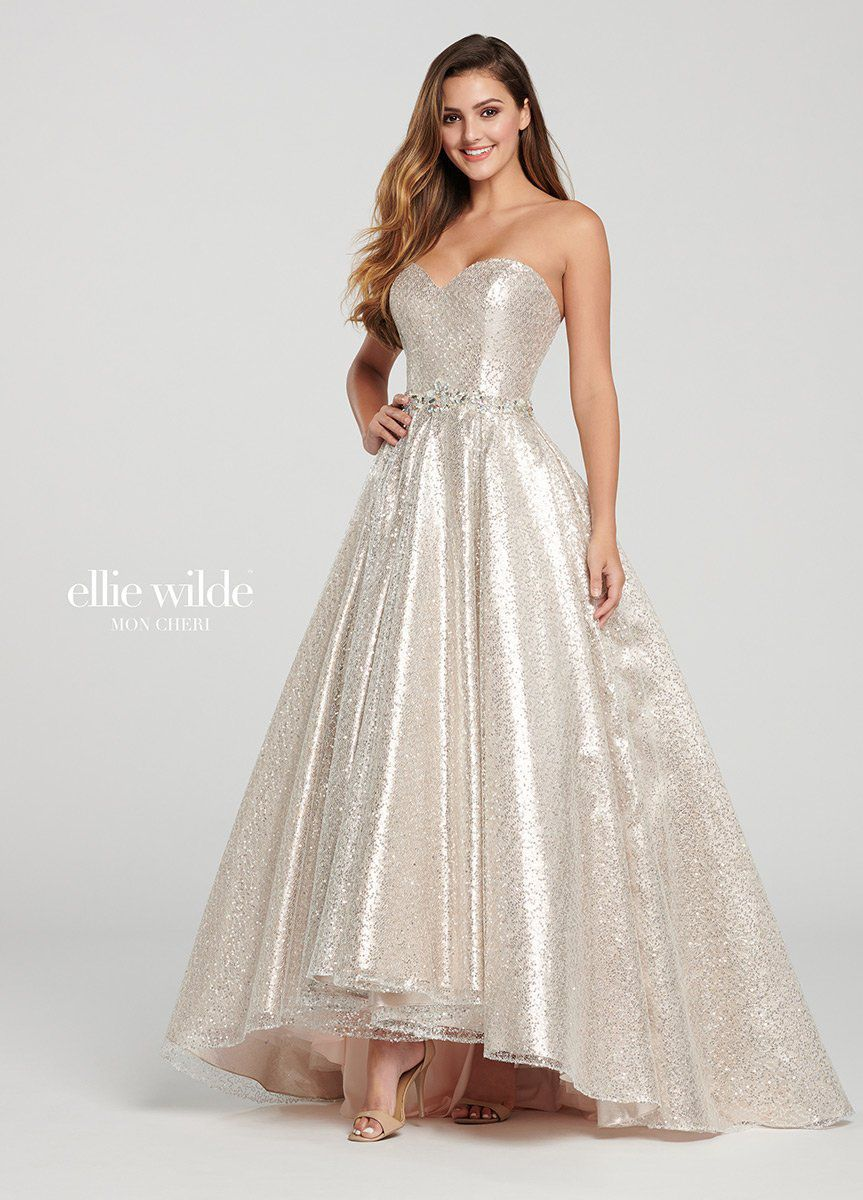 Style EW119077 Ellie Wilde Gold Size 12 Prom Plus Size Tall Height A-line Dress on Queenly