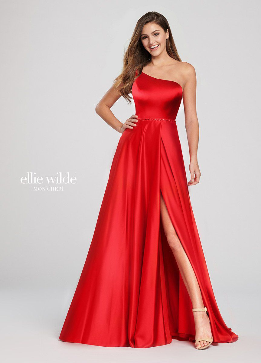 Style EW119049A Ellie Wilde Red Size 10 One Shoulder Tall Height Side slit Dress on Queenly