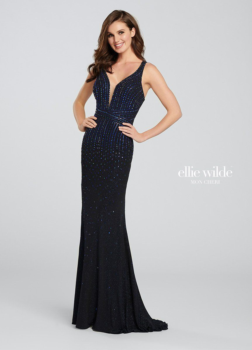 Style EW119019 Ellie Wilde Black Size 4 Tall Height Wedding Guest Straight Dress on Queenly