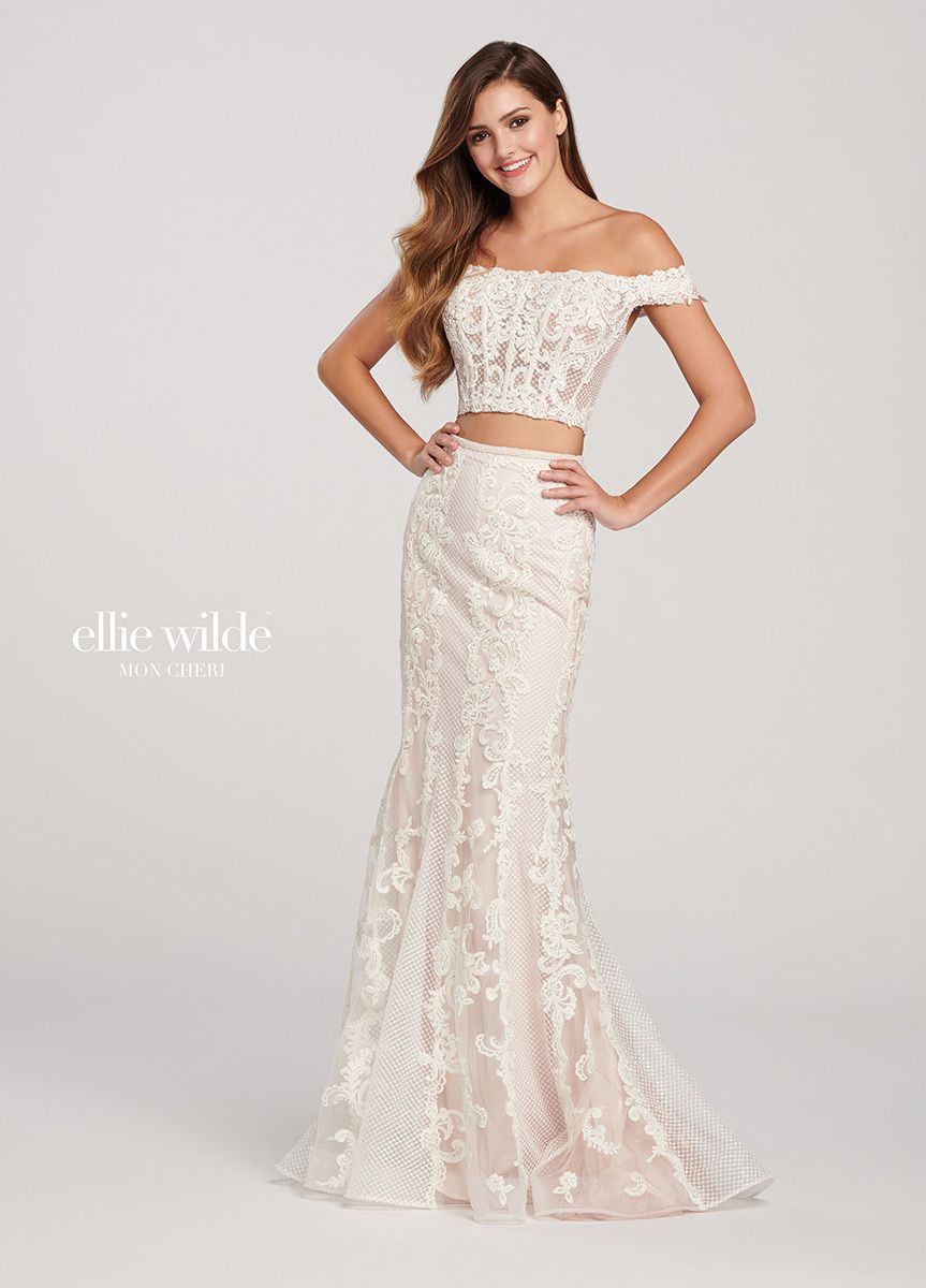 Style EW119016 Ellie Wilde Rose Gold Size 2 Tulle Tall Height Lace Mermaid Dress on Queenly
