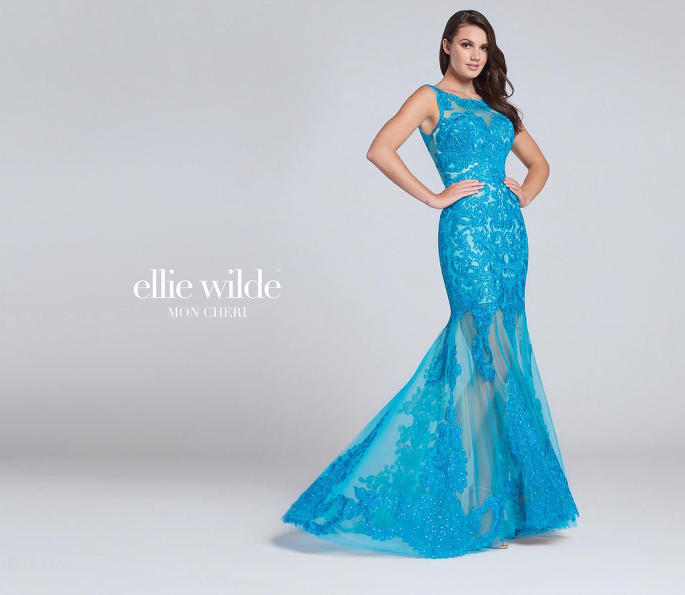 Style EW117084 Ellie Wilde Blue Size 4 Sweetheart Tall Height Sheer Lace Mermaid Dress on Queenly