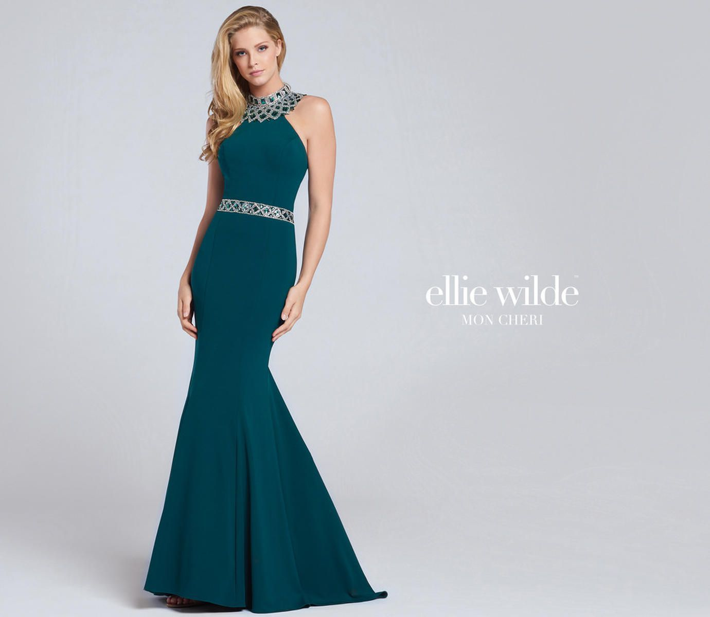 Style EW117082 Ellie Wilde Green Size 10 Pageant Halter Train Tall Height Mermaid Dress on Queenly