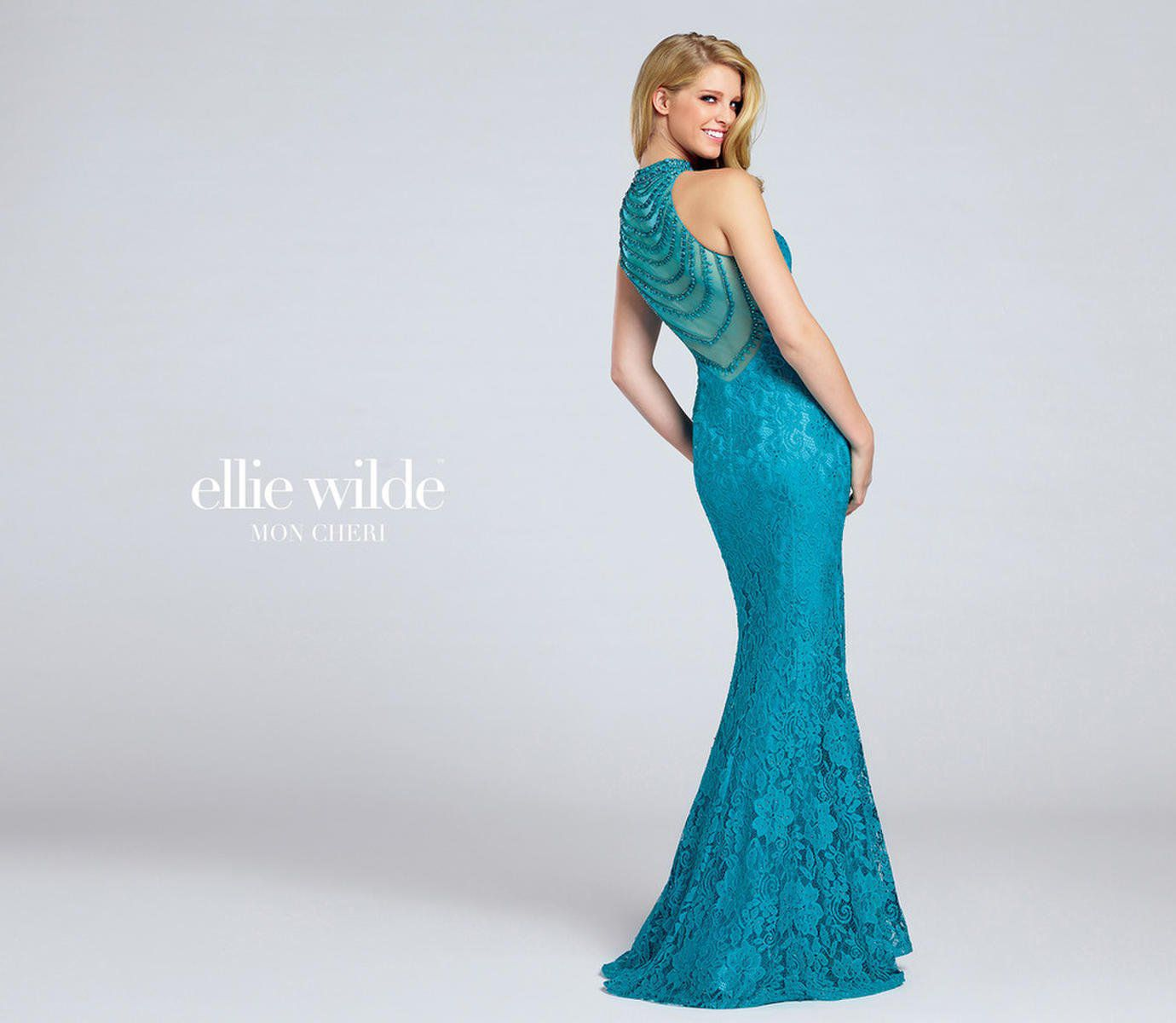 Style EW117057 Ellie Wilde Blue Size 6 Halter Sweetheart Tall Height Lace Mermaid Dress on Queenly