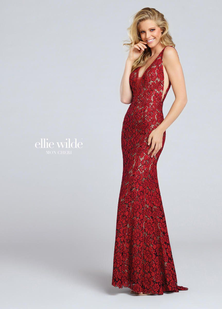 Style EW117044 Ellie Wilde Red Size 2 Tall Height Sheer Lace V Neck Mermaid Dress on Queenly