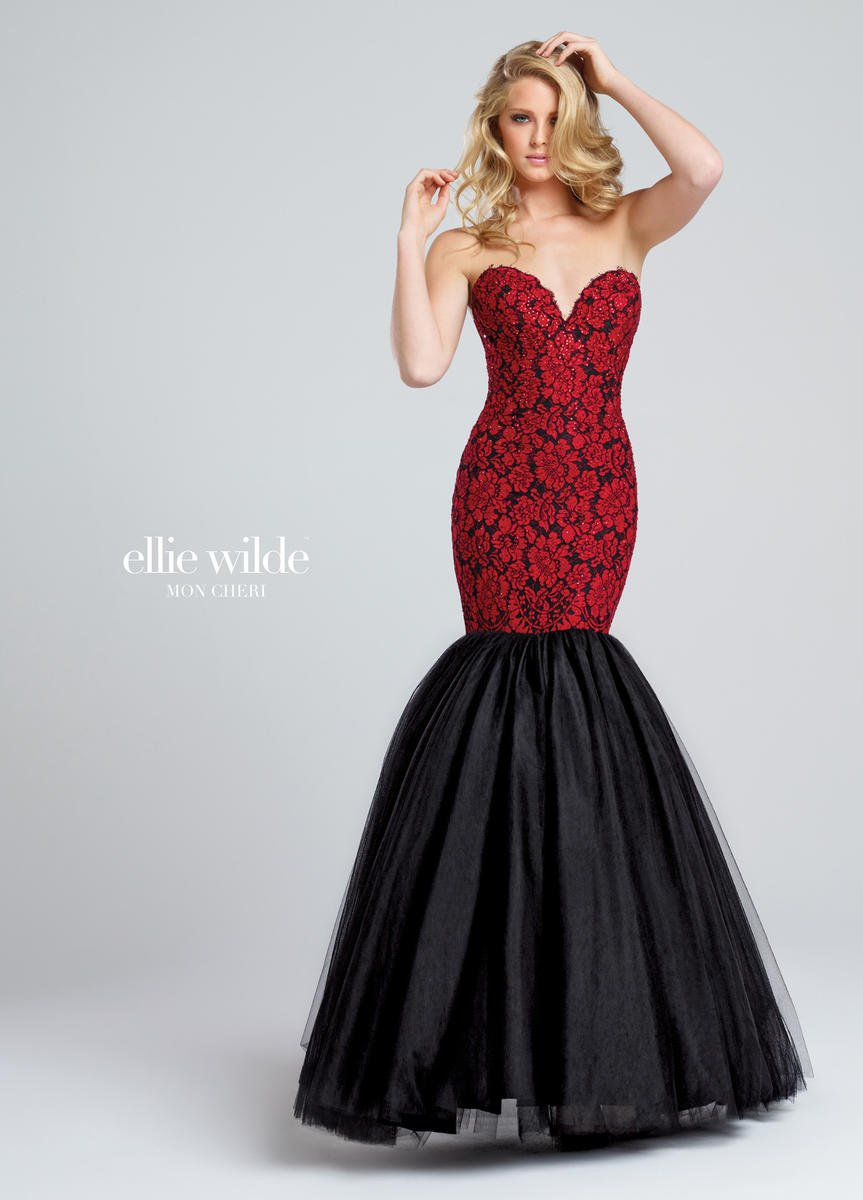 Style EW117043 Ellie Wilde Red Size 8 Tulle Sweetheart Tall Height Lace Mermaid Dress on Queenly