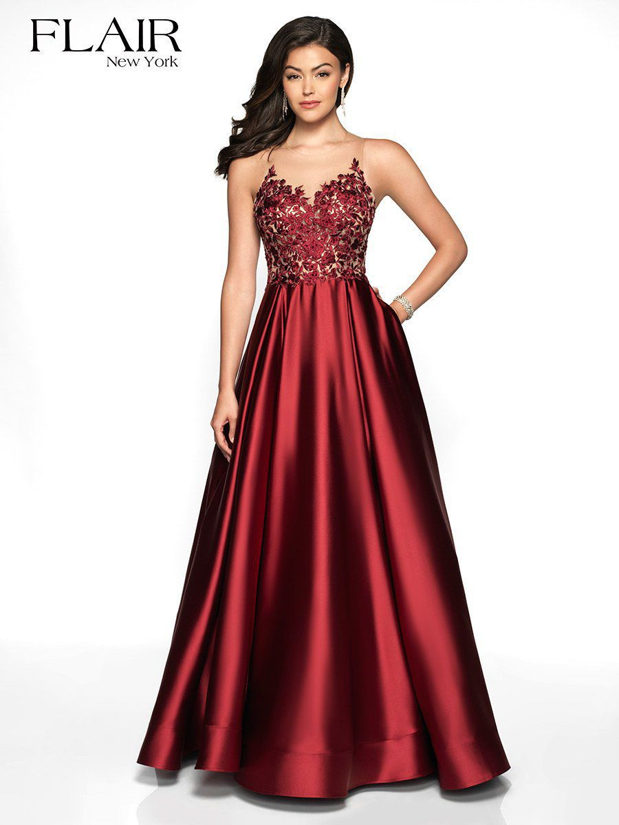 Style 19137 Flair Red Size 12 Pageant Tall Height A-line Dress on Queenly