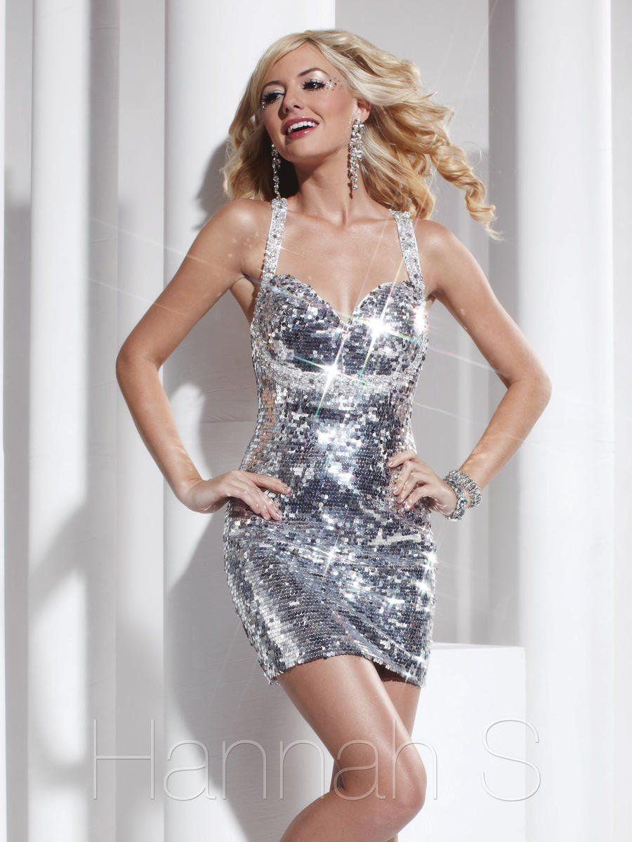 Style 27794 Hannah S Silver Size 4 Halter Tall Height Cocktail Dress on Queenly