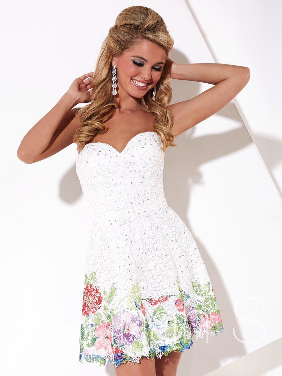Style 27885 Hannah S White Size 2 Mini Sequin Multicolor Cocktail Dress on Queenly