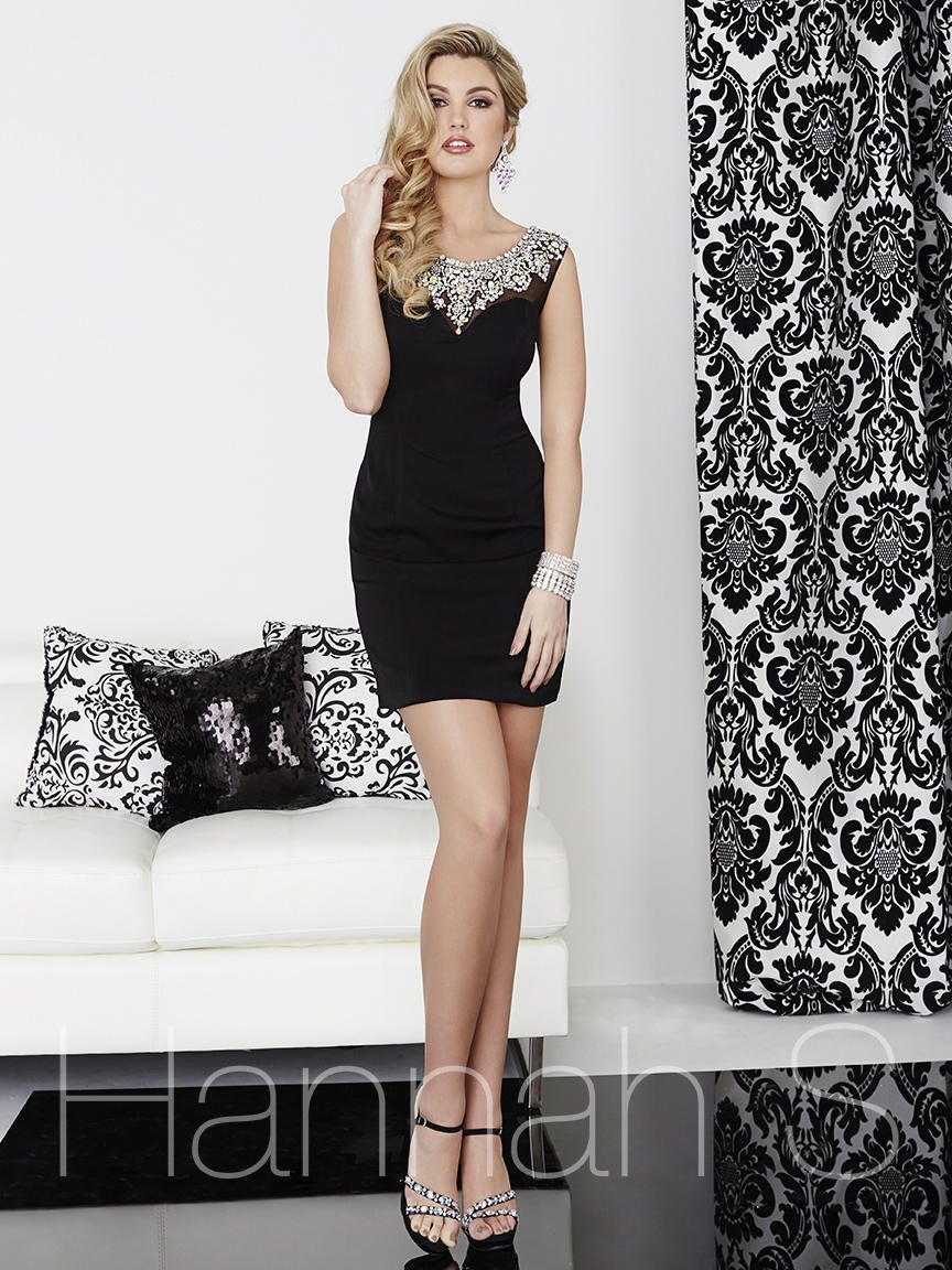 Style 27016 Hannah S Black Size 8 Tall Height Wedding Guest Fitted Cocktail Dress on Queenly