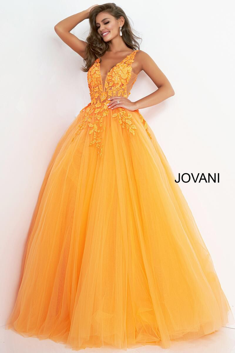 Style 02840 Jovani Orange Size 4 Pageant Tall Height Ball gown on Queenly