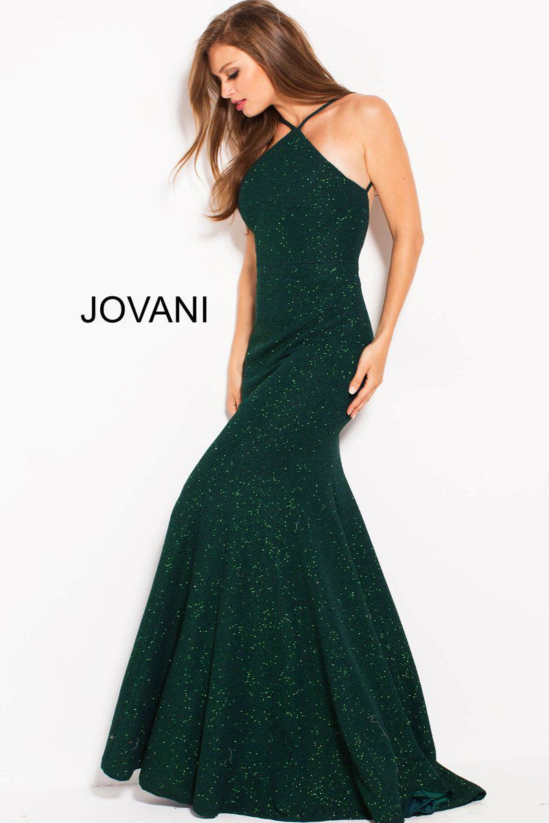Style 59887 Jovani Green Size 6 Halter Backless Tall Height Mermaid Dress on Queenly