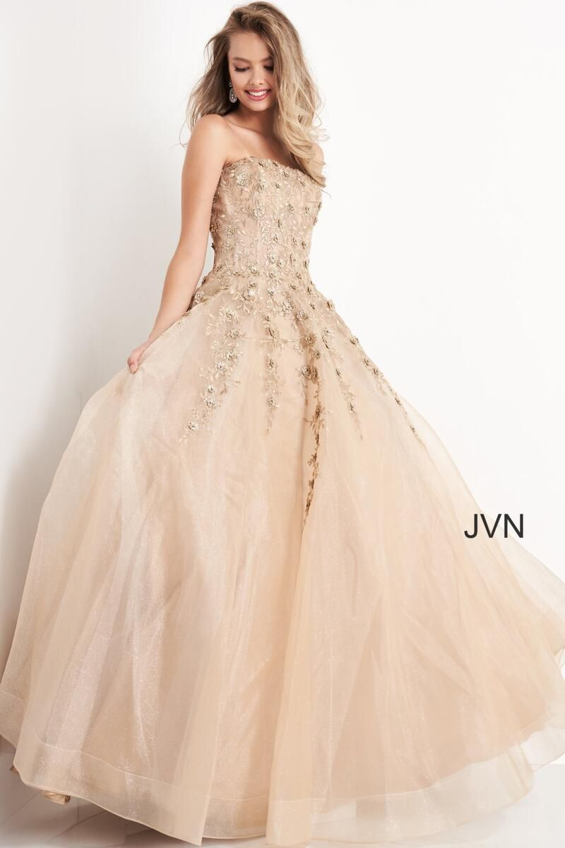 Style JVN05451 Jovani Gold Size 00 Pageant Quinceanera Tall Height Ball gown on Queenly