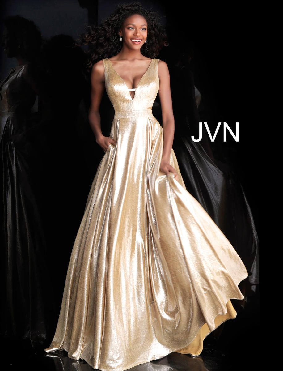 Style JVN66900 Jovani Gold Size 2 Pageant Tall Height A-line Dress on Queenly