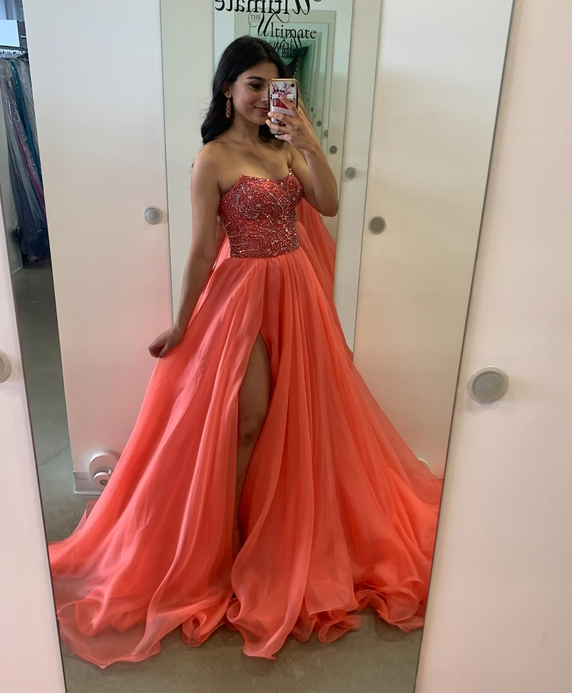 Sherri Hill Orange Size 0 Side Slit Pageant Custom Ball gown on Queenly