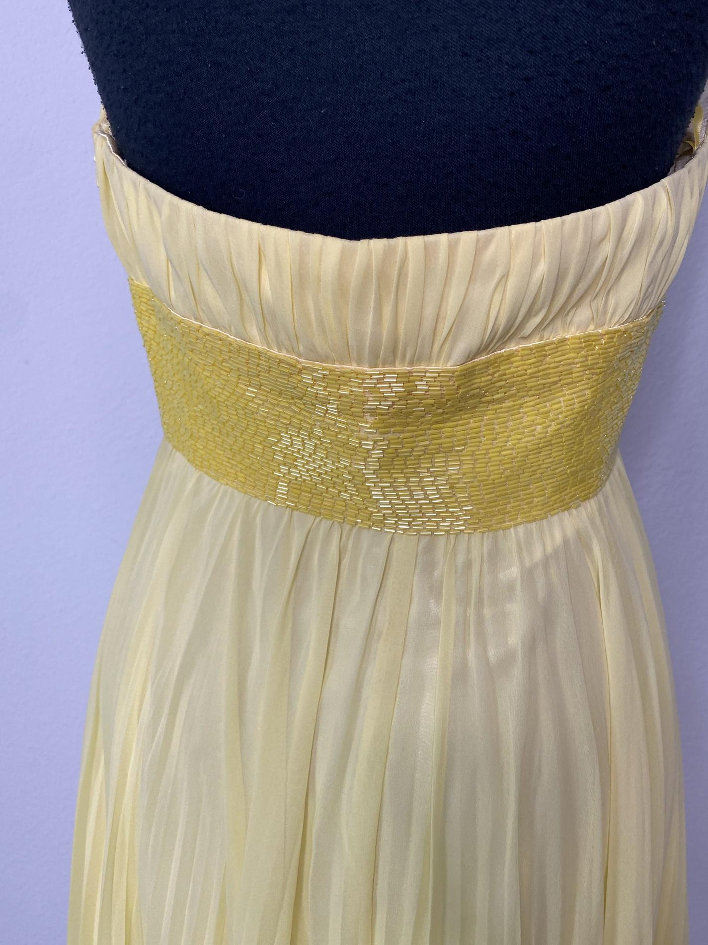 Blush Yellow Size 4 Belt Halter Custom Side slit Dress on Queenly