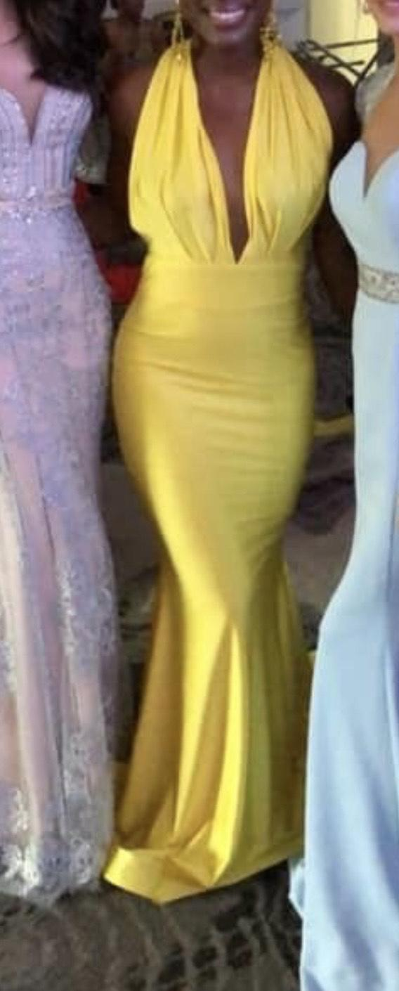 Jessica Angel Yellow Size 4 Backless Mermaid Dress on Queenly
