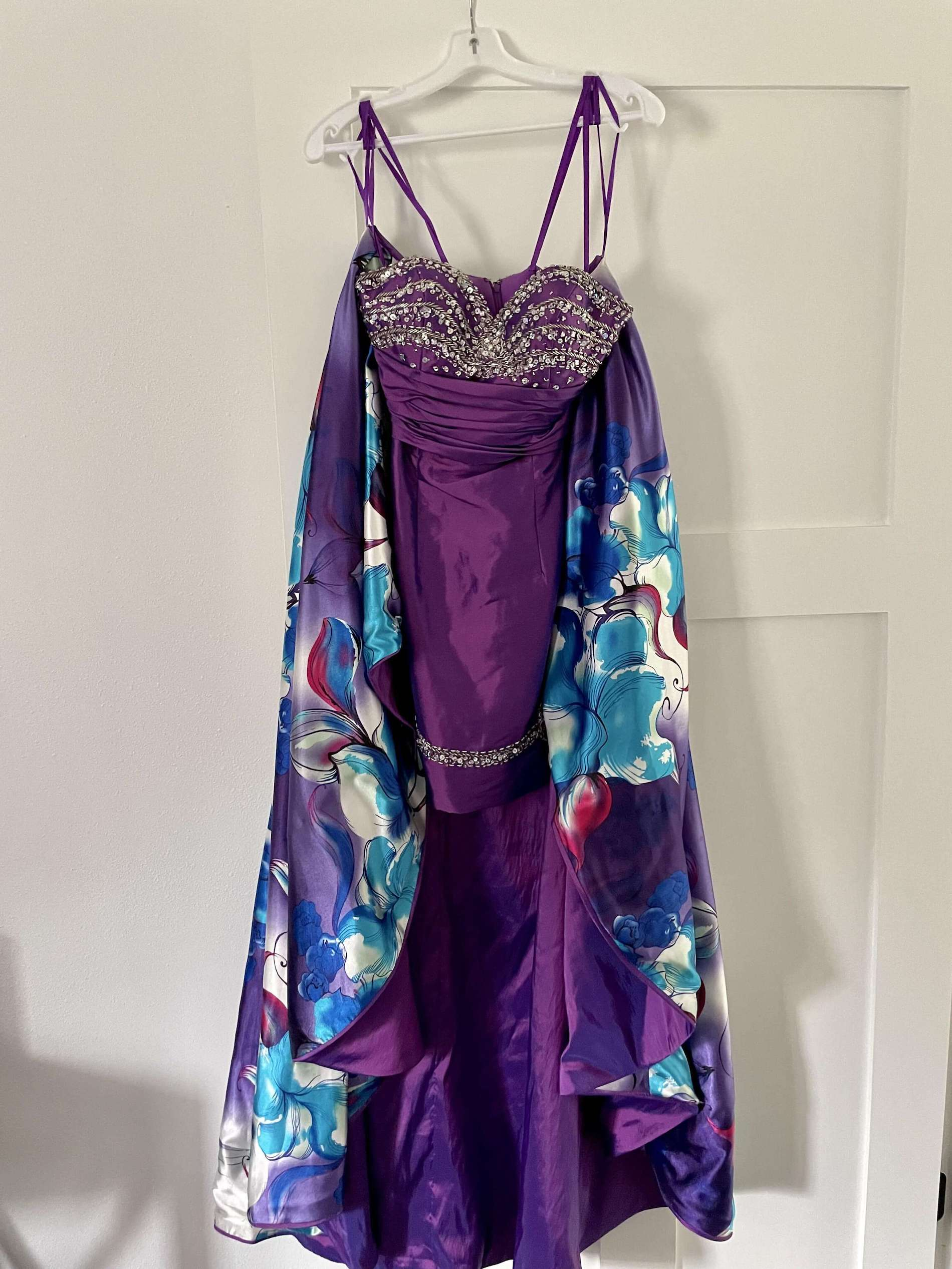 Mori Lee Purple Size 4 Two Piece Cocktail Sequin Ball gown on Queenly