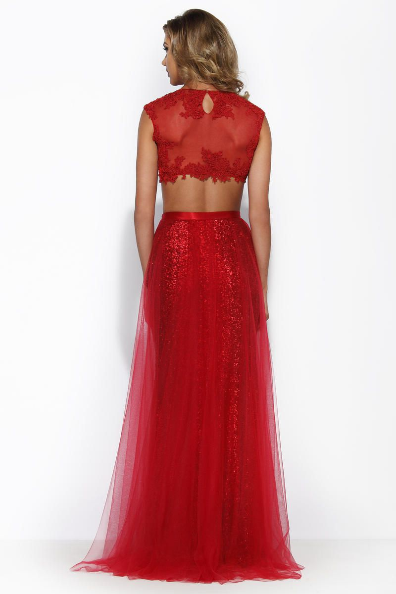 Style 15242 Jolene Red Size 8 Pageant Tulle Tall Height A-line Dress on Queenly