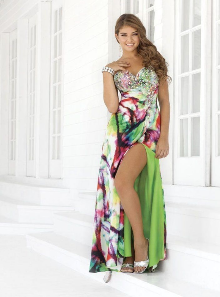 Style 9360 Blush Prom Multicolor Size 10 Floral Tall Height Side slit Dress on Queenly
