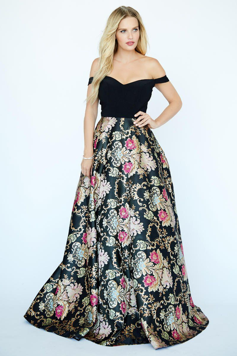 Style 19100 Jolene Black Size 14 Floral Tall Height Ball gown on Queenly