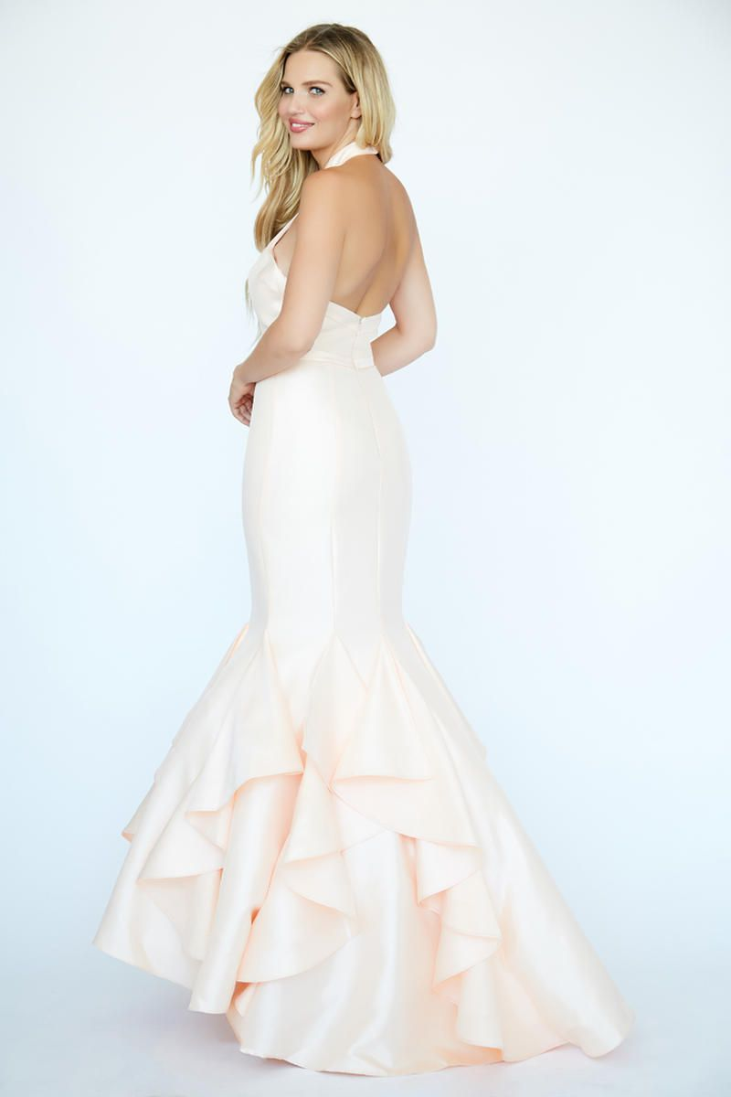 Style 19083 Jolene White Size 4 Pageant Halter Tall Height Mermaid Dress on Queenly